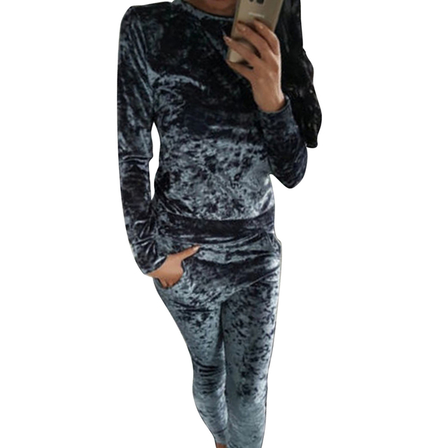 Casual Velvet Tracksuit for Women Autumn Winter Hot Slim 2 Piece Party Jumpsuits Long Sleeve Sweatshirts Hoodies Tops and Pants