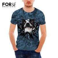 FORUDESIGNS בולדוג צרפתי חולצה של גברים באיכות גבוהה עיצוב מצחיק 3D כלב חתול קיץ בעלי החיים שרוול קצר מגניב של האופנה הגברים Tees