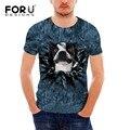 FORUDESIGNS T Shirt French Bulldog Design Men's High Quality Funny 3D Dog Cat Summer Fashion Men's Cool Animal Short Sleeve Tees