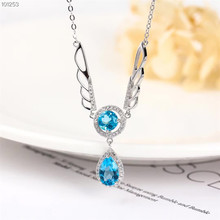 hot sale fashionable simple-designed 925 sterling silver natural blue topaz gemstone jewelry pendant necklace for women