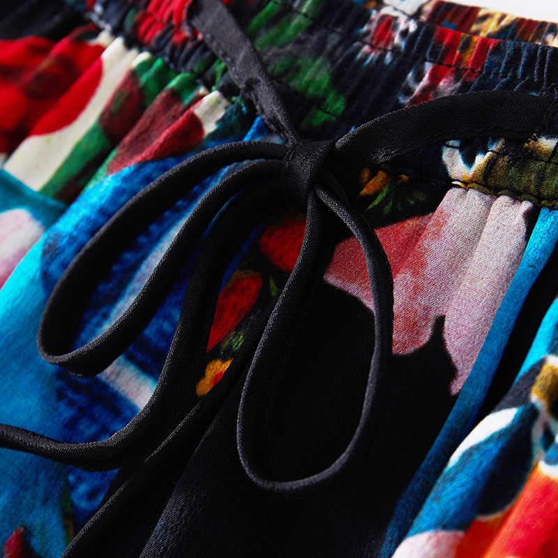 シルクレジャースーツ 2019 春と夏の新しいカジュアルスーツジャケットファッションハイウエストプリントワイド脚パンツ女性スーツ