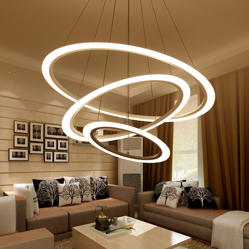 Rings Modern LED Pendant Lights Fixtures Dining Living Room Restaurant Suspension Indoor Home Decor Circles Hanging Lamp modern foscarini spokes 1 2 pendant lights led hanging lamp industrial cage suspension home decor living room lighting fixtures