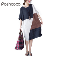 Poshcoco Vintage Plus Size Cotton Line Casual Loose Irregular Patchwork Women Midi Dress 2017 Autumn O Neck Short Sleeve Dresses