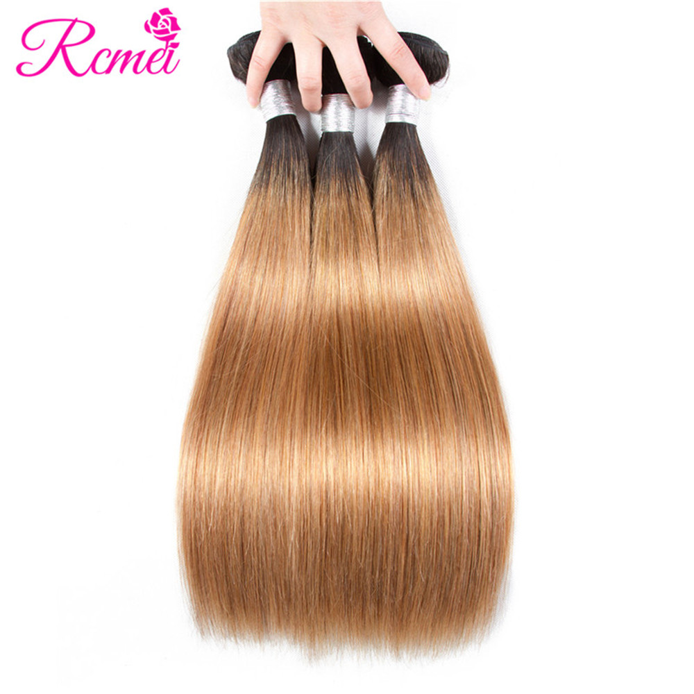 Rcmei Ombre Dark Roots Honey Blonde Brown Wine Red Colored Bundles Brazilian Straight Human Hair Weaving