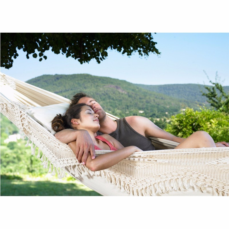 Hamac en coton Ultra-grand pour 2 personnes avec lit d'oscillation de jardin à pompon Hamac Rede Double pour l'extérieur chaise suspendue norme européenne