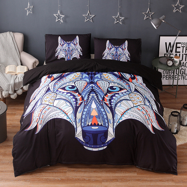 Well-known Wongsbedding Indian Symbol Wolf Bedding Set HD Print Tribal Wolves  NR66