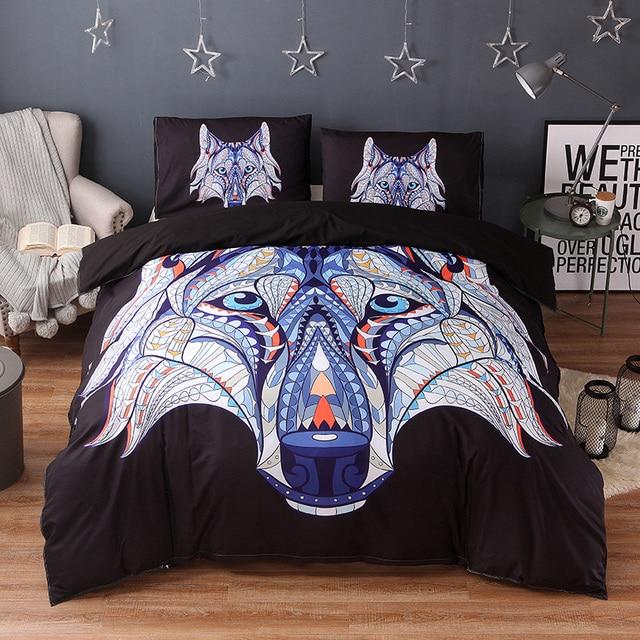 3b15c97bb6 Wongsbedding Símbolo Indígena Lobos Lobo Jogo de cama HD Impressão Tribal  Set Capa de Edredão Gêmeo