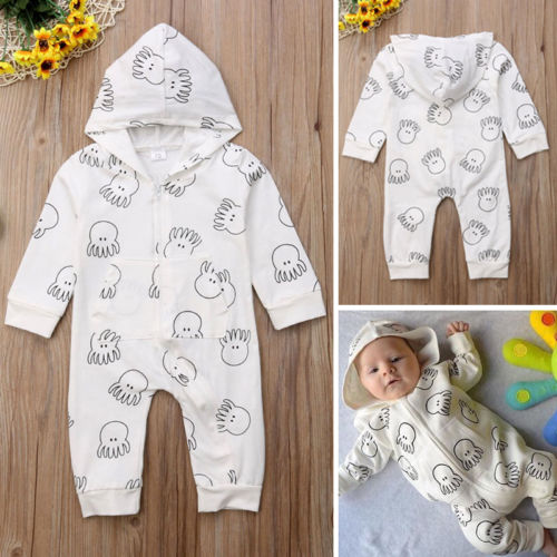 Newborn Infant Baby Girls Boys Hooded Long Sleeve Bodysuits Jumpsuit Playsuit Warm Clothes Outfits Autumn Spring