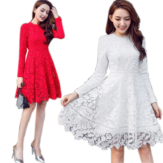 2017 Winter fashion ladies plus size warm fleece Lace Dress pinched waist elegant  party beautiful temperament 14a32dc01d2b