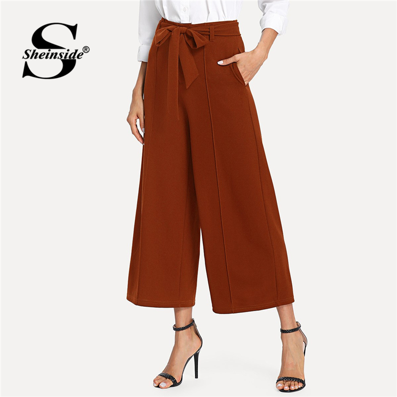 Sheinside Brown High Waist   Wide     Leg     Pants   Plain Office Ladies Work Pocket Side Belted Trousers 2018 Women Autumn Casual   Pants