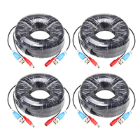 ZOSI 4 Packed 18M/60 Feet BNC Video Power Cable For CCTV Camera DVR Security System Black Surveillance Accessories