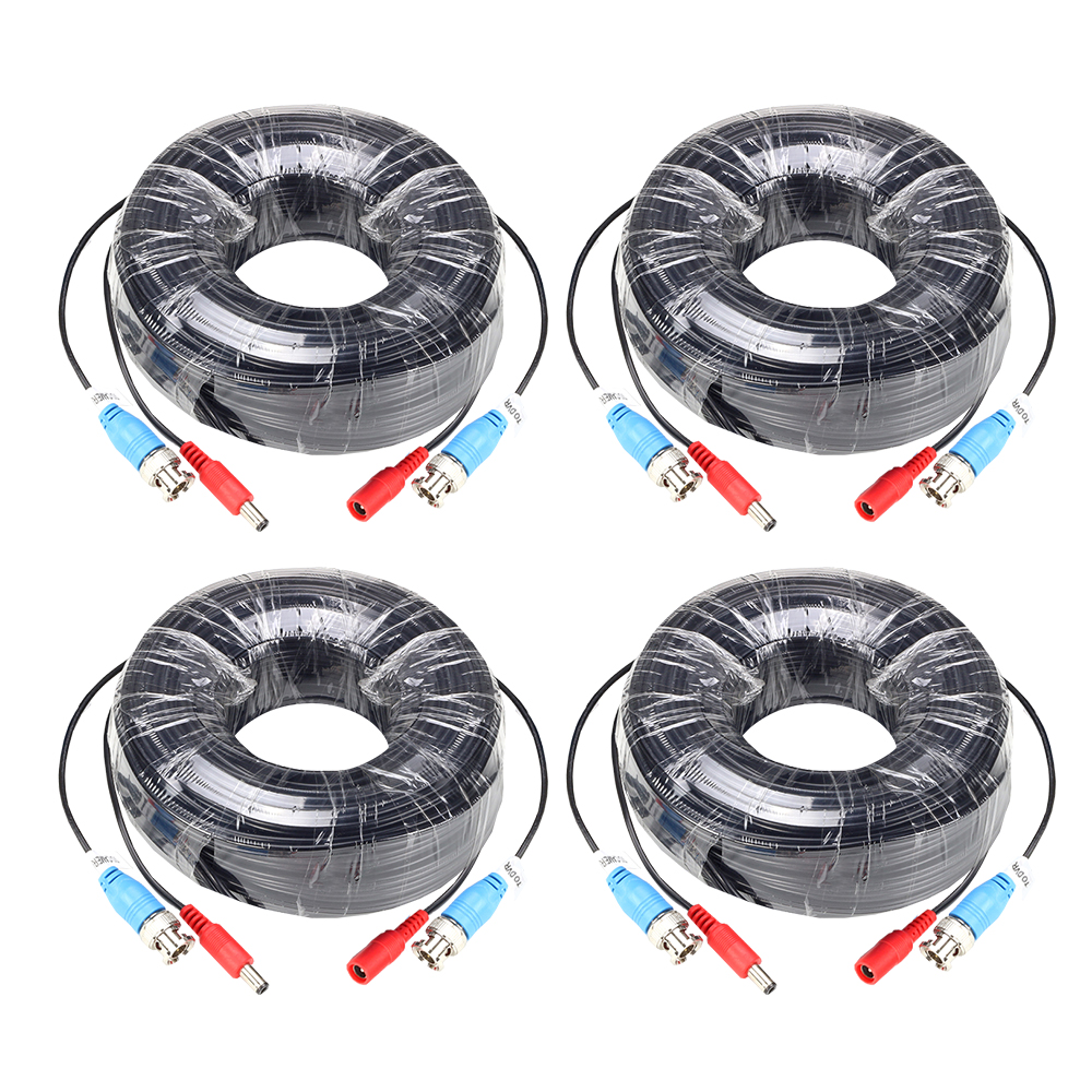 ZOSI 4-Packed 18M/60 Feet BNC Video Power Cable For CCTV Camera DVR Security System Black Surveillance Accessories