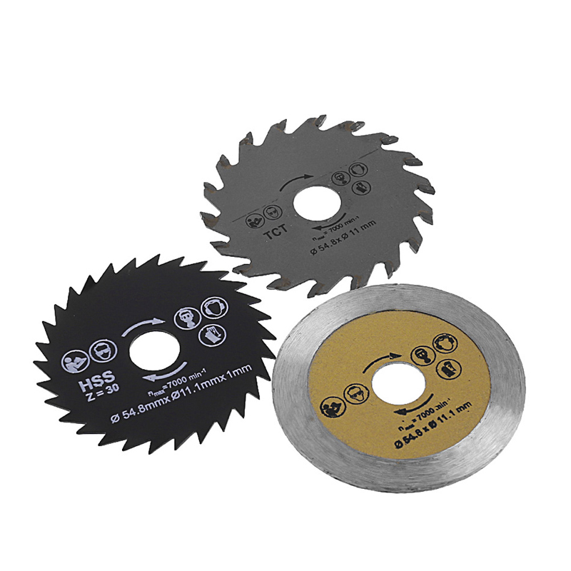 3 Pcs Circular Saw Blade Cutting Disc HSS Cutter Disc For Mini Drill Tools Wood Drills Tools Out Diameter 54.8mm -Y103