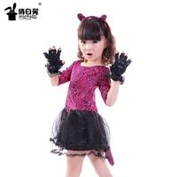 Girls Dresses 2019 Brand Kids Clothes Leopard Print+Black Gloves + Cute Cat Ear Rings Kitten Short Sleeve Children Dress