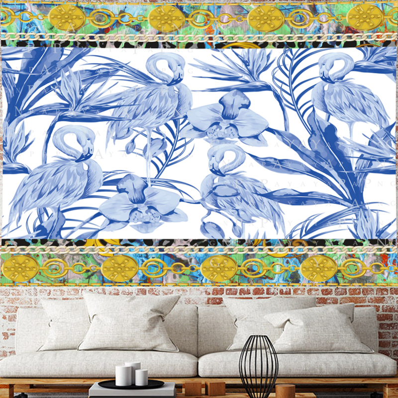 Blue flamingo Mandala Tapestry Oil painting texture Pattern goblen Wall Hanging hippies wall towel Home Decor Art Wall Carpet in Tapestry from Home Garden