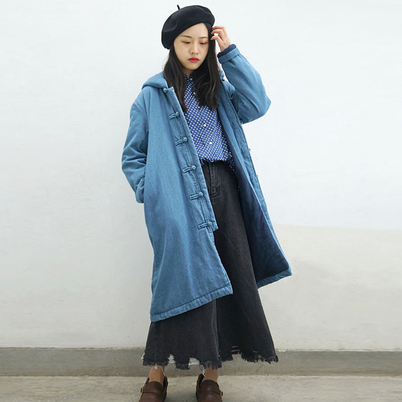 Nouveau Printemps Poitrine light Unique Col Blue Longs Solide Manteaux Pull Johnature Blue Parkas Dark Épaissir Denim Patchwork Femmes Couleur 2018 q7xY0wU