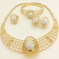 Wedding Dress Accessories Costume Women Party African Beads Jewelry Sets Gold Plated Crystal Indian Necklace Bangle