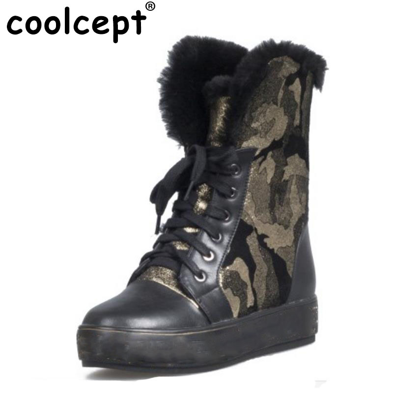 Coolcept Women Genuine Leather Flats Boot Thick Fur Cross Strap Botas In Winter Shoes Short Snow Boots Women Footwear Size 34-39 coolcept size 34 43 women half short thick bottom boots cross strap warm shoes cold winter boots mid calf botas women footwear