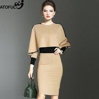 ATOFUL 2017 Autumn Winter Dress Women Formal Work Office Sheath Patchwork Slim Dress O Neck Knee