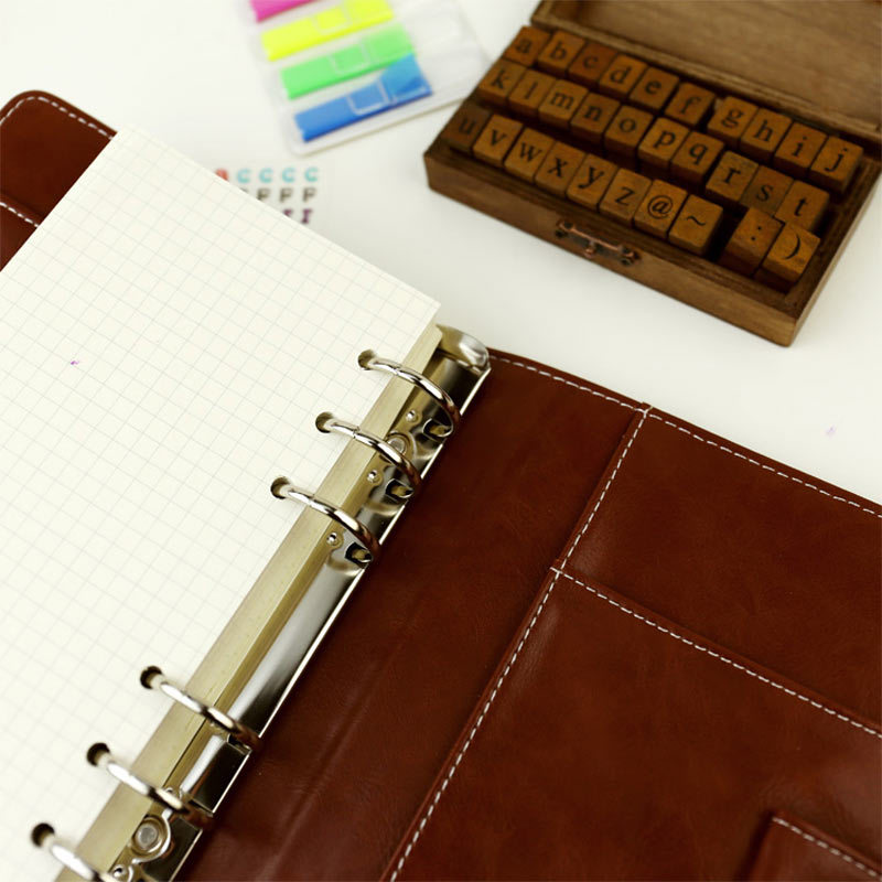 Image 5 - 2017 Vintage Leather Notebook A5 A6 Retro PU Notebook Dairy Personal Planner Agenda with 25mm Dia Ring Office & School Supplies-in Notebooks from Office & School Supplies