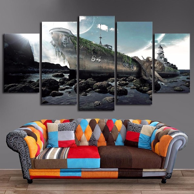 Tableau HD Printed Paintings Wall Artwork Pictures 5 Panel Shabby Ship On  The Seashore Home Decor
