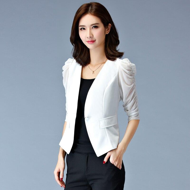 3xl plus big size coats women spring summer autumn 2017 feminina fashion thin black white short coats small suit female A4164