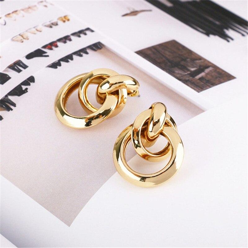 Exaggerated large gold earrings women retro metal geometric earrings hipster Vintage earrings wholesale Beautiful earrings in Drop Earrings from Jewelry Accessories
