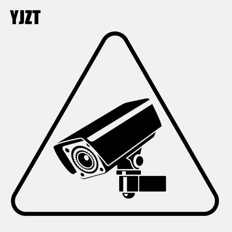 YJZT 13.4CM*11.8CM Cool CCTV Warning  Sign  Camera Tool Vinyl Black/Silver Car Sticker C22-0899