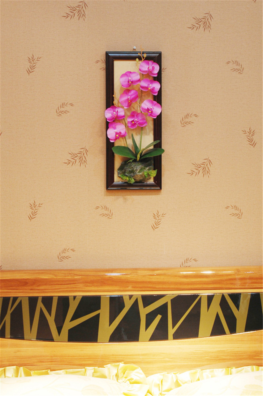 Creative 3D Metope Decor Silk Flower Orchid with Wood Photo Frame ...