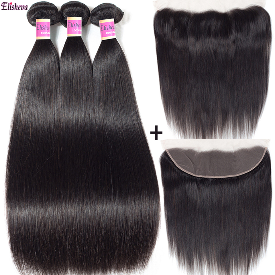 Elisheva Brazillian Human Hair 3 bundles With Frontal 100 Remy Straight Hair 13X4 Ear To Ear