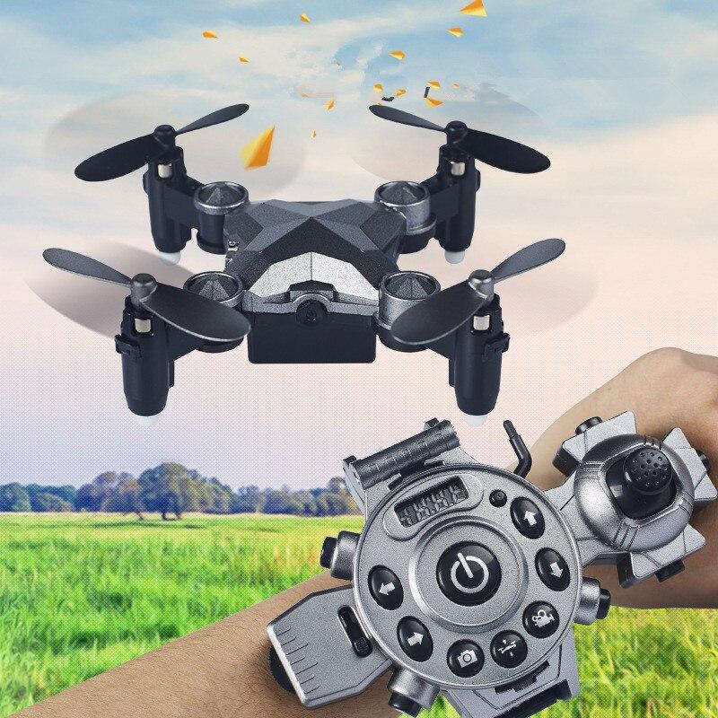 2017 DH-800 montre contrôle Wifi FPV RC Selfie Drone 2.4 GHz poche pliable Mini Drone RC Portable quadrirotor avec caméra 0.3MP