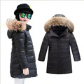 2016 new girls down jackets for girl coat winter thicken hooded fur collar thick children's outerwear parka overcoat boys coats