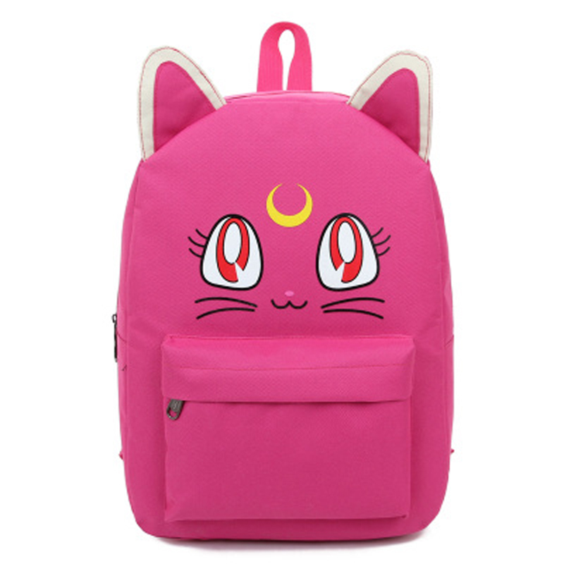 high quality Sailor Moon Canvas Backpacks for Teenage Girls School Bags Cute Fold Cat Book Bag