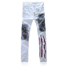 White Printed Jeans Fashion Men Jeans  Man Printing Cotton Large Size 28-36 Jeans For Men