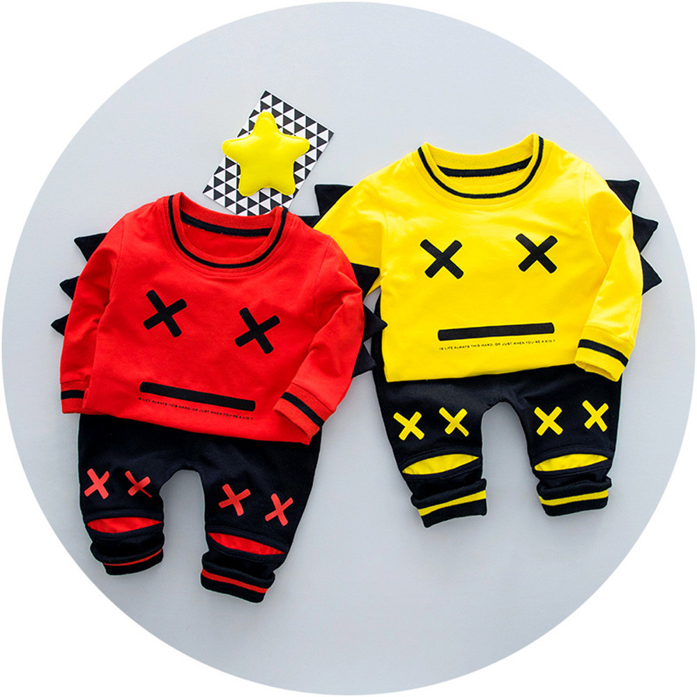 Kid Toddler Sports Suit Baby Girl Boy Set Clothing Fashion facial expression Cute Clothing set Spring autumn Boys Girls Clothes