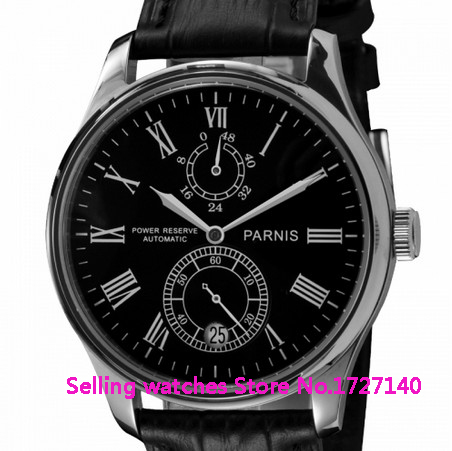 43mm Parnis Black Dial Power Reserve Automatic Watch p001 hot sale 46mm parnis black dial power reserve white marks automatic men wrist watch