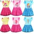 2017 маленькие девочки новая мода цвет марля платье балетной пачки девушки платье Мое pony детские мультики принцесса ребенок кружева блесток платье одежда