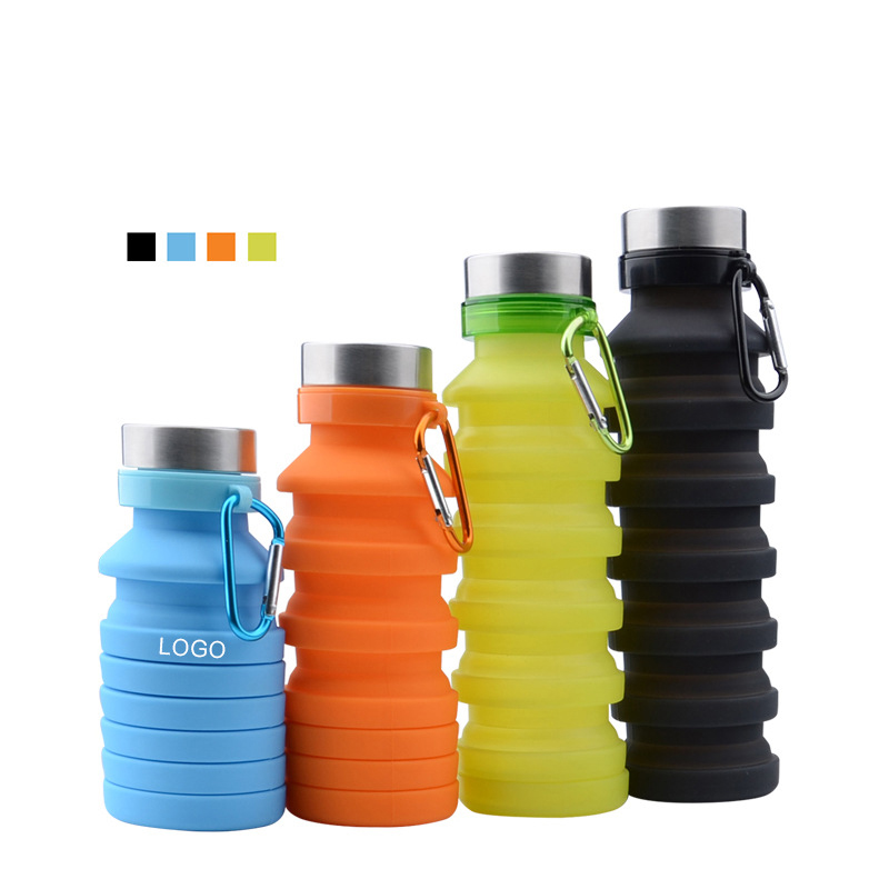 Carabiner Clip Hook 500ml Collapsible Folding Drink Water Bottle Kettle