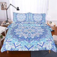 LISM Bohemian Bedding Set Floral Paisley Pattern Duvet Cover Set Sky Blue India Hippie Mandala Bedspread Full Size 3 Piece