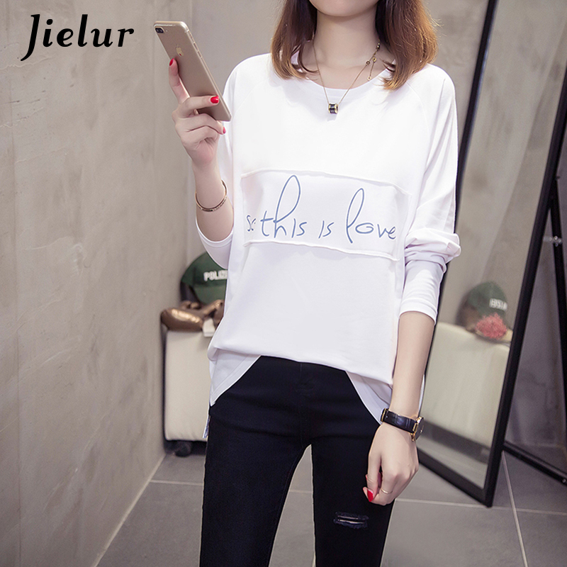 22c86765d2380e Jielur Letter Printed Korean Female T shirt Long Sleeve Casual White Fall  Women s T Shirts Hipster Harajuku Ladies Tee Tops M XL-in T-Shirts from  Women s ...