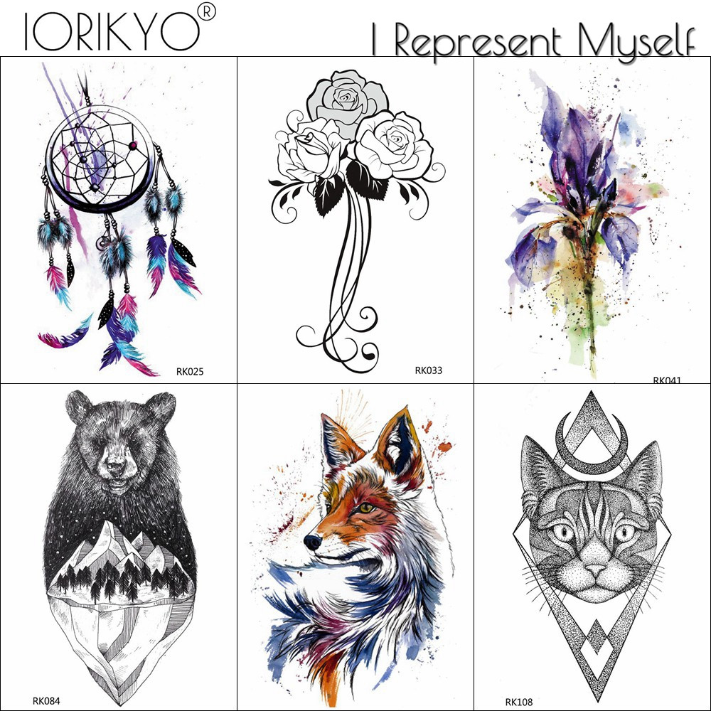IORIKYO Women Chest Tribal Fox Tattoo Stickers Men Arm Geometric Cat Moon Temporary Tattoo Flower Fake Waterproof Leg Tatoo Bear