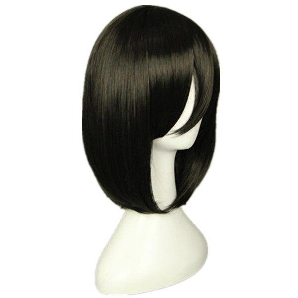 Attack on Titan Mikasa Ackerman Short Bob Black Heat Resistant Cosplay Costume Wig
