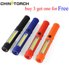 COB LED Mini Pen Light Work Inspection Flashlight Torch Lamp Handle Magnetic Pocket Torch Bright Outdoor Lighting For Camping(China)