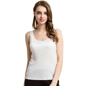 Image 2 - Майка SuyaDream женская из 100% натурального шелка, однотонная Базовая безрукавка с круглым вырезом, весна лето 2020, черные, белые, серые