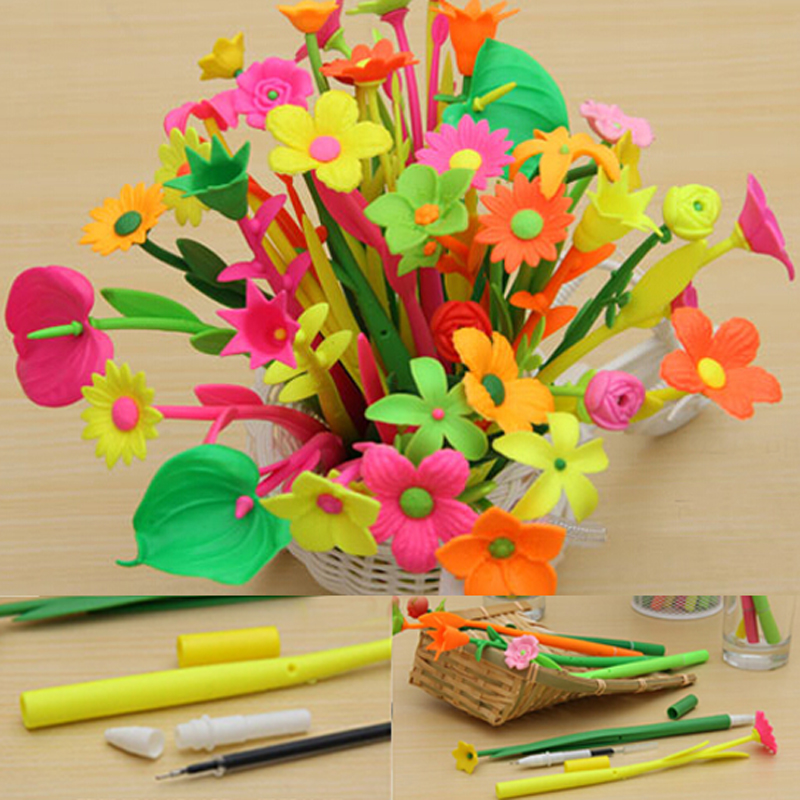 12pcs lot flower pens Ballpoint pen wedding decoration school supplies kawaii funny toys cute for writing stationery in Ballpoint Pens from Office School Supplies