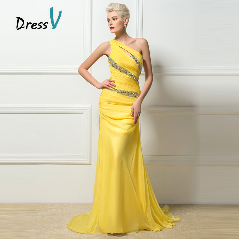 54d3dfe769 Dressv Trumpet/Mermaid Yellow Evening Dresses One shoulder Beaded Formal Sequins  Long Prom Party Dress sexy sheath evening dress