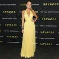 Blake Lively vestido Amarelo vestido da celebridade do tapete vermelho vestidos de noite 2017 vestido de festa longos Vestidos de Gossip Girl