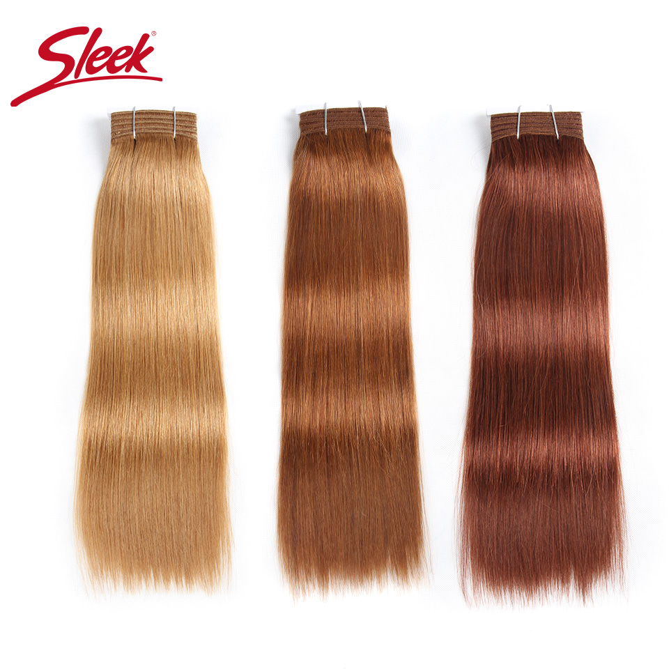 Sleek Double Drawn Brazilian Yaki Straight Human Hair Weave Bundles Remy Pure Color Brown Burgundy Red 99J Hair Bundles 113g ...