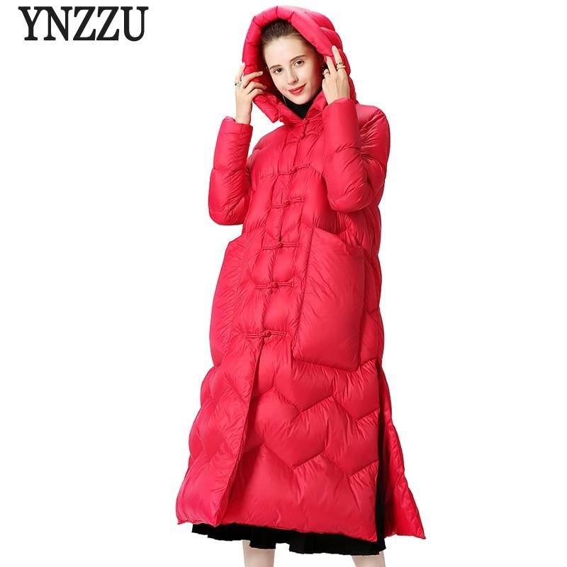 YNZZU New Elegant Winter Womens   Down   Jacket Solid Split Long White Goose   Down     Coat   Warm Hooded Female Jacket Big Pockets O436