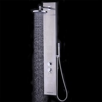 55 Brushed Stainless Steel Rain Shower System Bathroom Shower Panel Set With Hand Shower High Quality BA7211